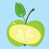 The fresh green apple with hearts isolated on blue. — Stock Vector
