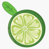 La cal madura verde fresca con corazones y hojas aislados en blanco — Vector de stock
