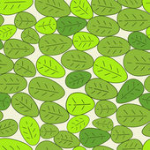 Simple cartoon seamless pattern with green leaves. — Stock Vector