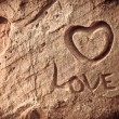 Stock Photo: Inscription on rock of love