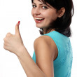 Stock Photo: Girl with lifted up finger