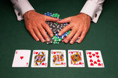 Poker hand royal flush win — Stock Photo