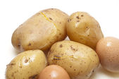 Boiled potatoes and eggs — Stock Photo