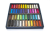 Box of used pastels — Stock Photo