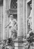 Detail of the main statue of the Trevi Fountain in Rome, Italy. Black & white photography — Foto Stock