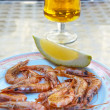 Beer and prawns - Stock Photo