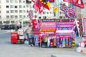 Store merchandaysi outside the Vicente Calderon — Stock Photo