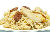 Rice with sausage and chicken — Stockfoto