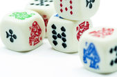 Dice on white background — 图库照片