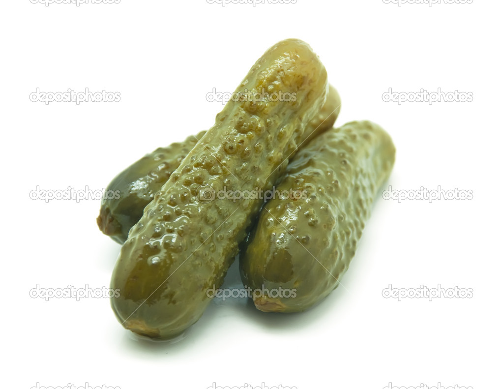 Three Pickles on white background  Stock Photo #10156166