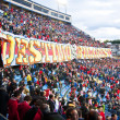 Fans at the Vicente Calderon soccer stadium, Madrid — Stock Photo #10319544