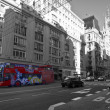 Gran Via in Madrid. Black & white photography with color desaturation — Foto Stock