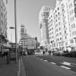 View the Gran Via of Madrid. Black & white photography — Stock Photo