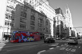 Gran Via in Madrid. Black & white photography with color desaturation — Stock Photo