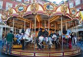 Carousel horses in the city — Stock Photo