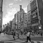 Distrito de calle shinjuku en Tokio. fotografía en blanco y negro — Foto de Stock