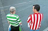 Atletico Madrid fans and Celtic at the Vicente Calderon — Stock Photo
