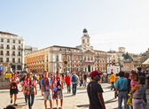 AT.MADRID fans at Plaza Mayor in Madrid — Stock Photo