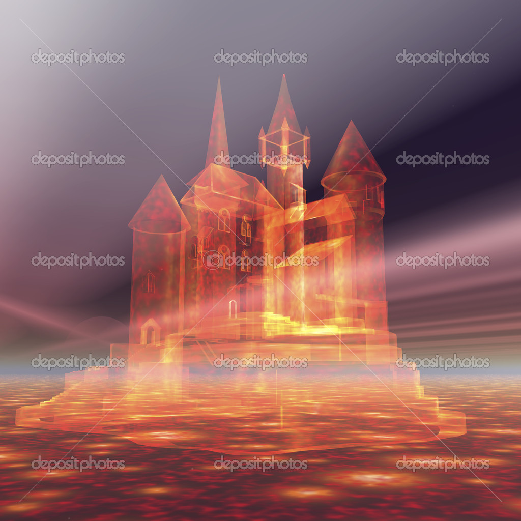 Digital visualization of a castle in the sky  Stock Photo #10092717