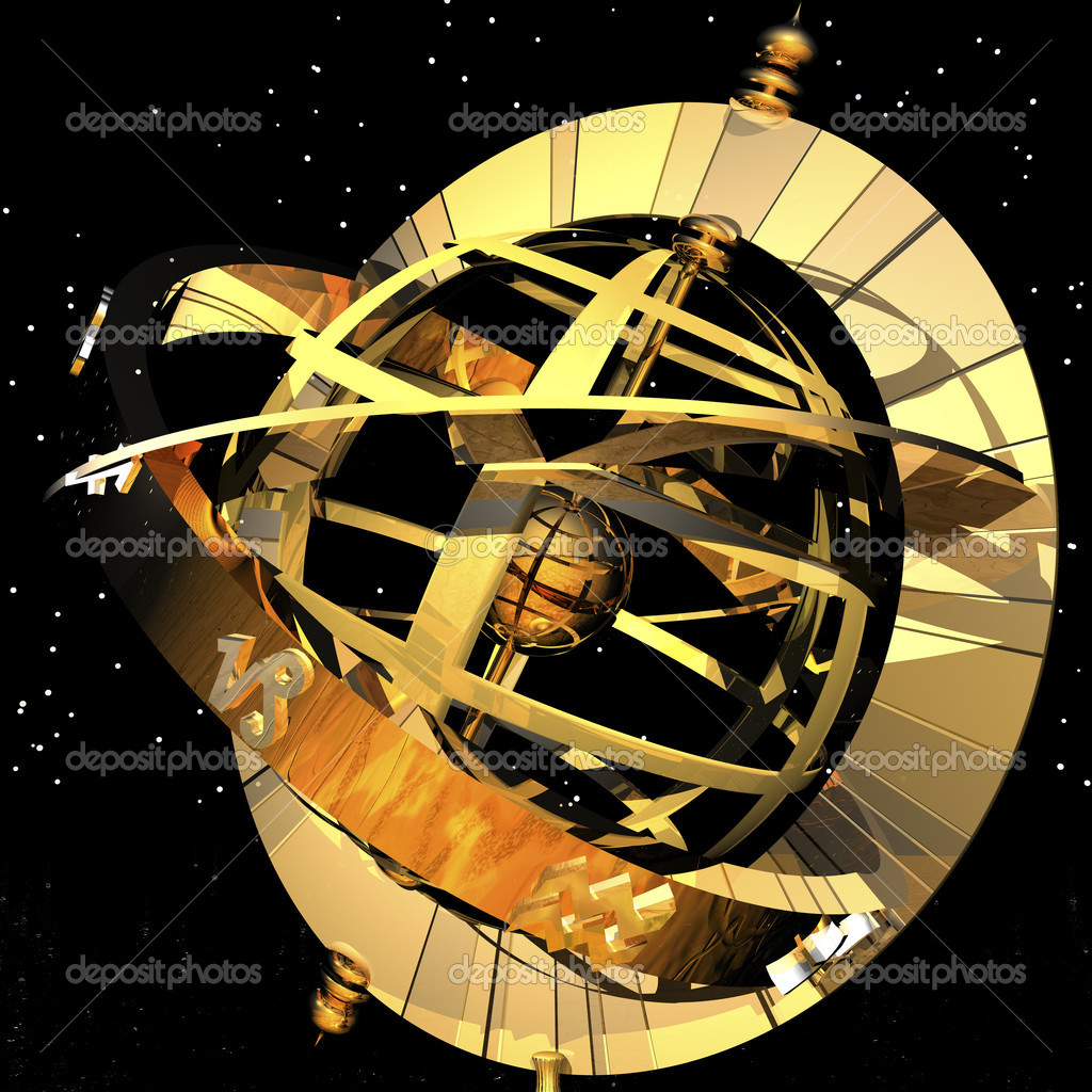 Digital visualization of an armillary sphere — Stock Photo #10096315