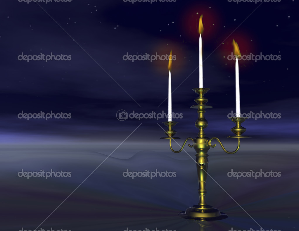 Digital visualization of a candlestick by night — Stockfoto #10156614