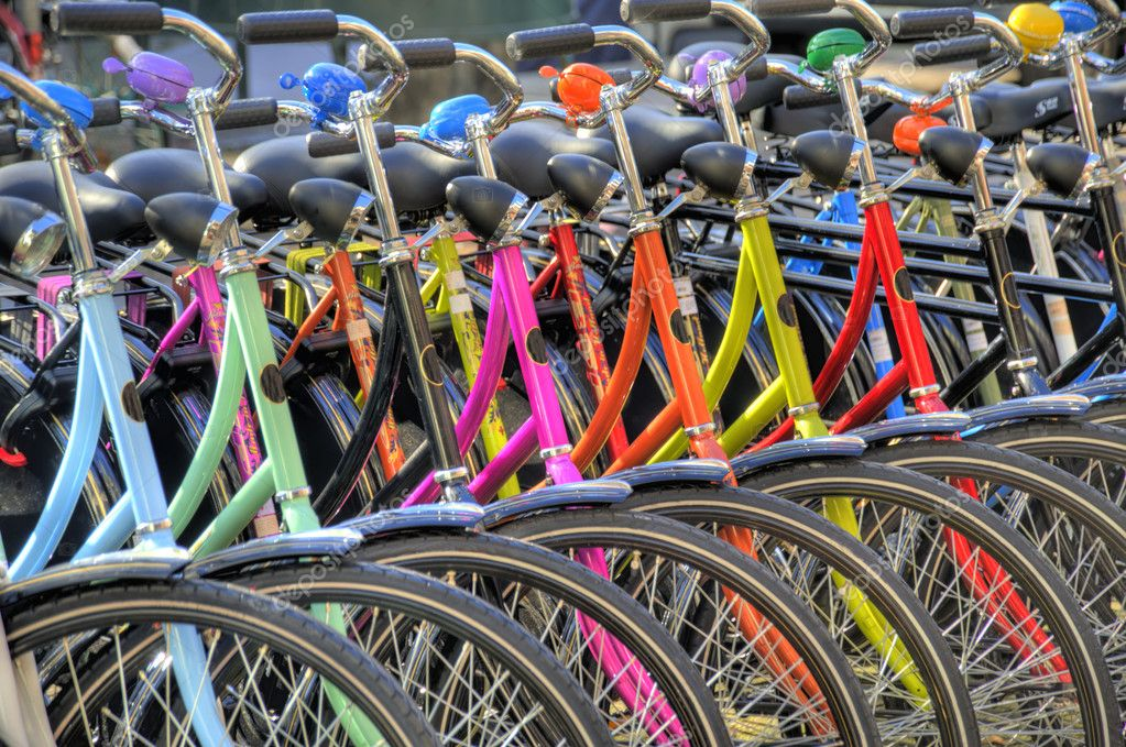 Colorful bicycles in amsterdam (hdr) — Stock Photo #10158228