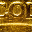 Micro photo: detail of a dollar gold coin — Stockfoto