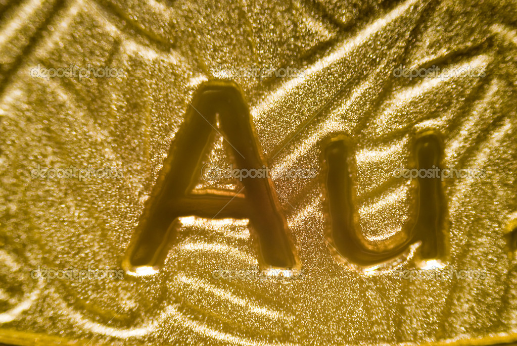 Micro-photo: detail of a chinese gold-panda-coin — Stock Photo #10163791