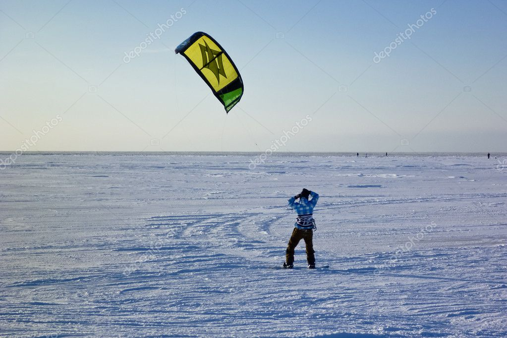 Kite surfer in the snow  Stock Photo #10179097