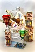 Money, wine, beautiful wine-glasses and vase — Stock Photo