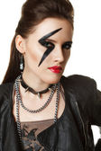 Young Woman styled like rock star — Stock Photo