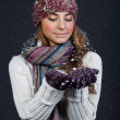 Beautiful girl in winter clothes. Studio shot — Stock Photo #10325562