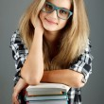 Female college student. Studio shot — Stock Photo