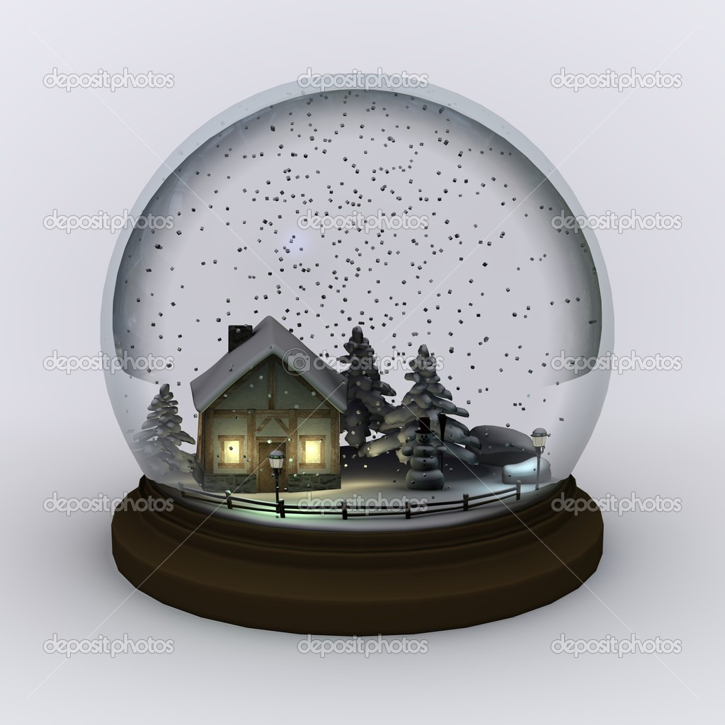 3d render of snow globe (scene)  Stock Photo #10073523