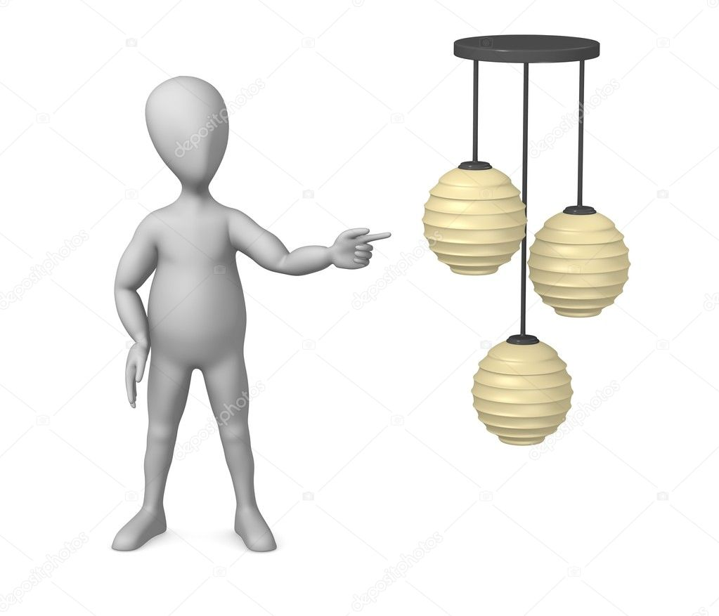 3d render of cartoon character with chandelier — Stock Photo #10083833