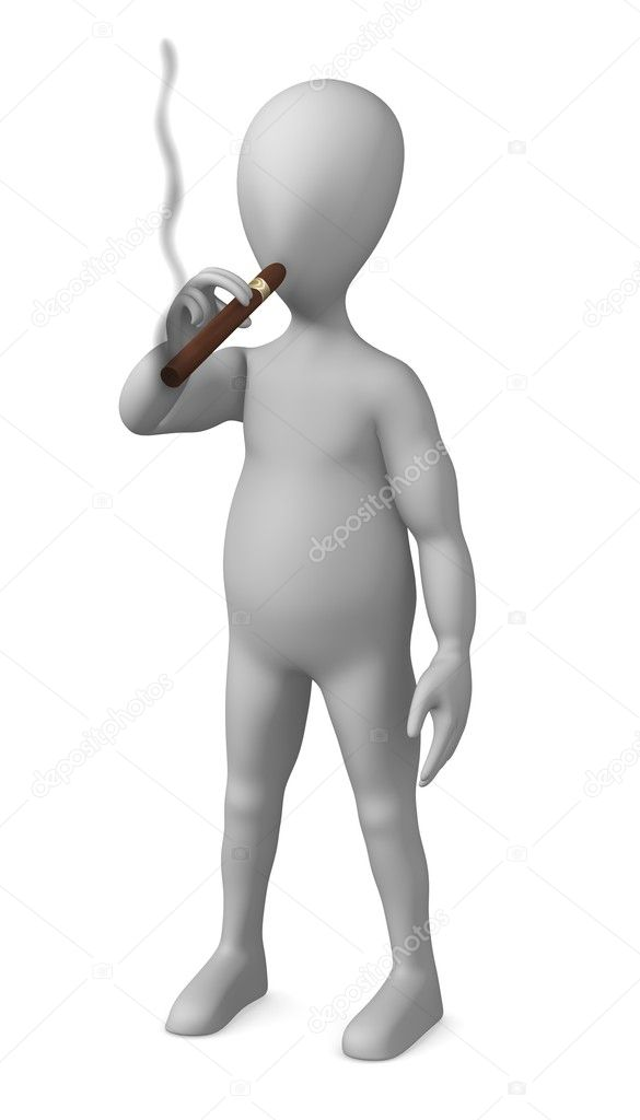 3d render of smoking cartoon character — Stock Photo #10084024