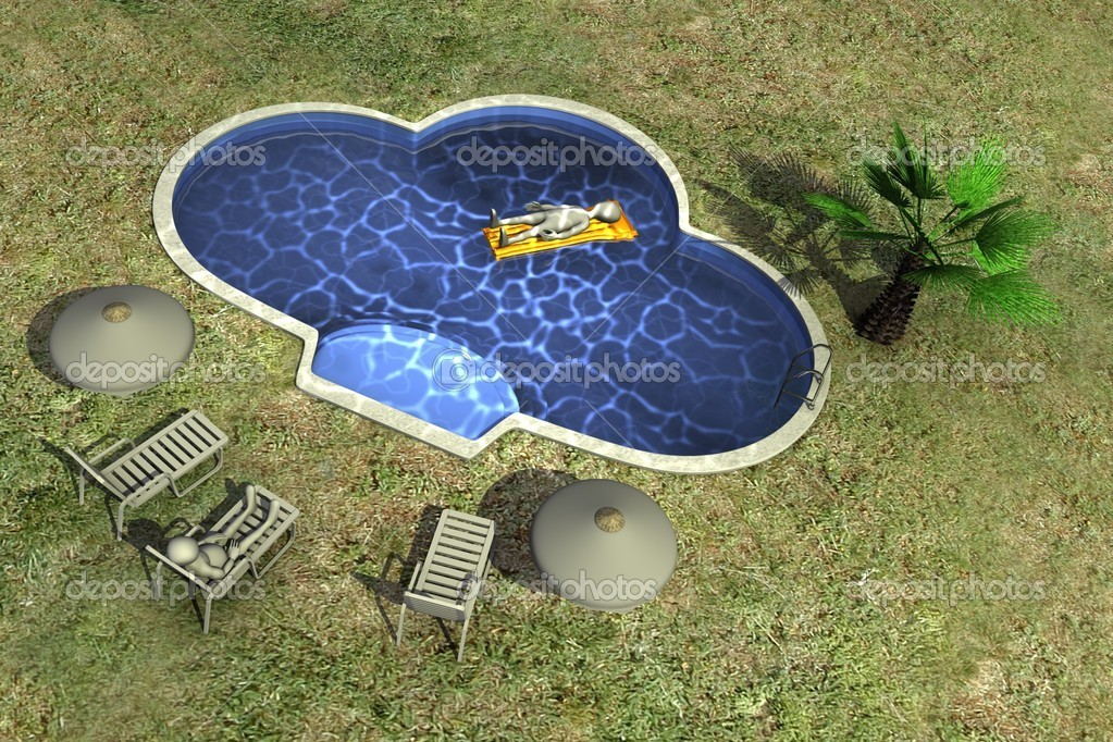 3d render of cartoon character and swimming pool — Stock Photo #10084601