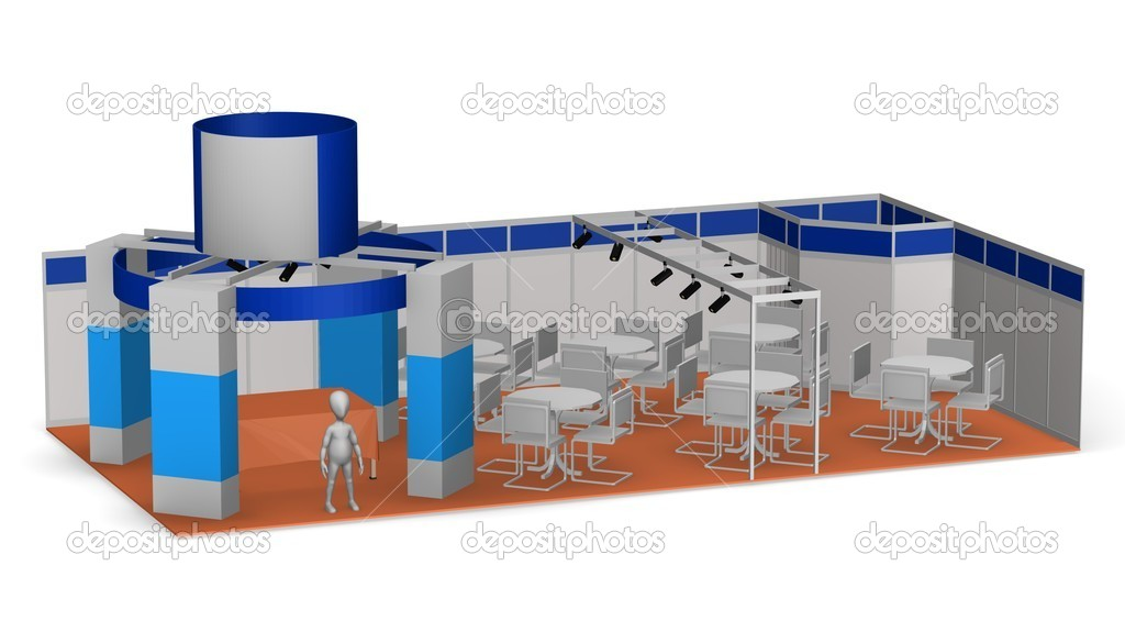 3d render of cartoon character with exhibition stand — Stock Photo #10084613