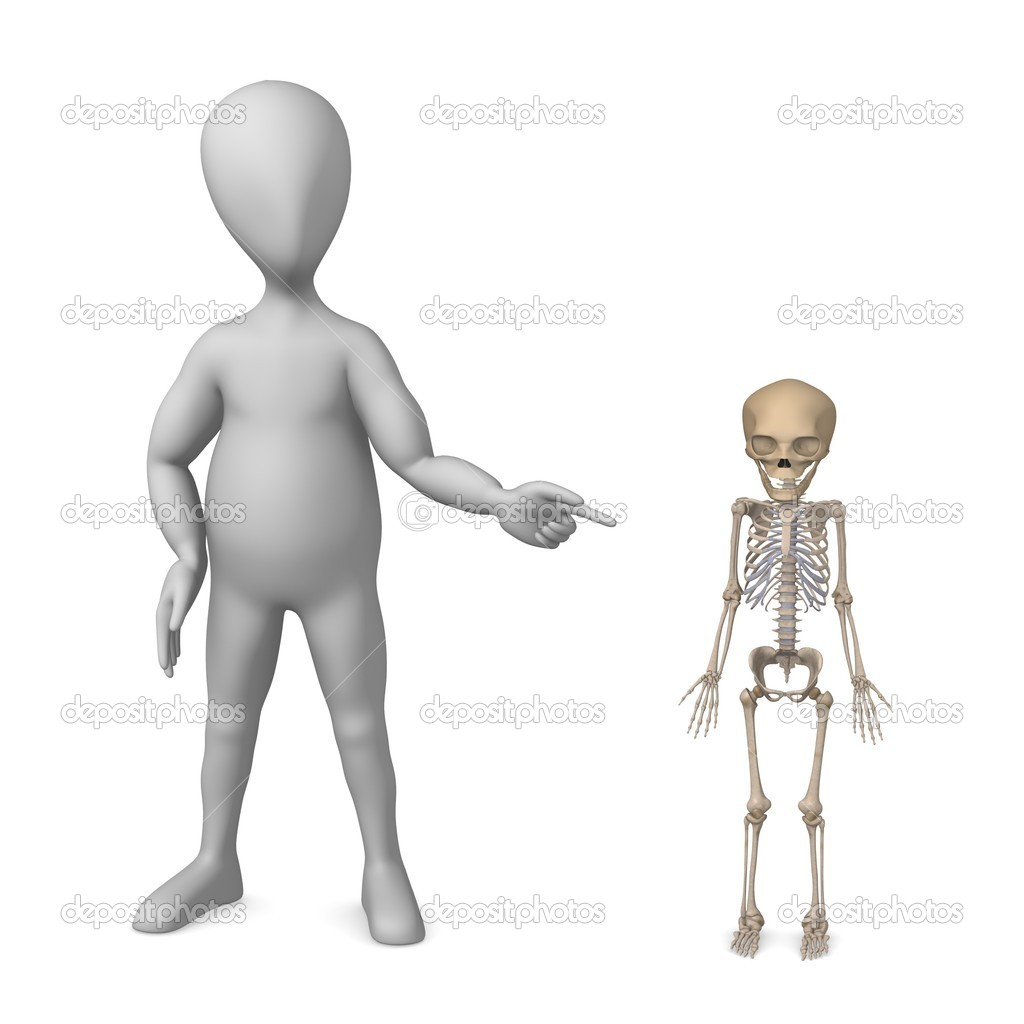 3d render of cartoon character with fetus skeleton  Stock Photo #10084709