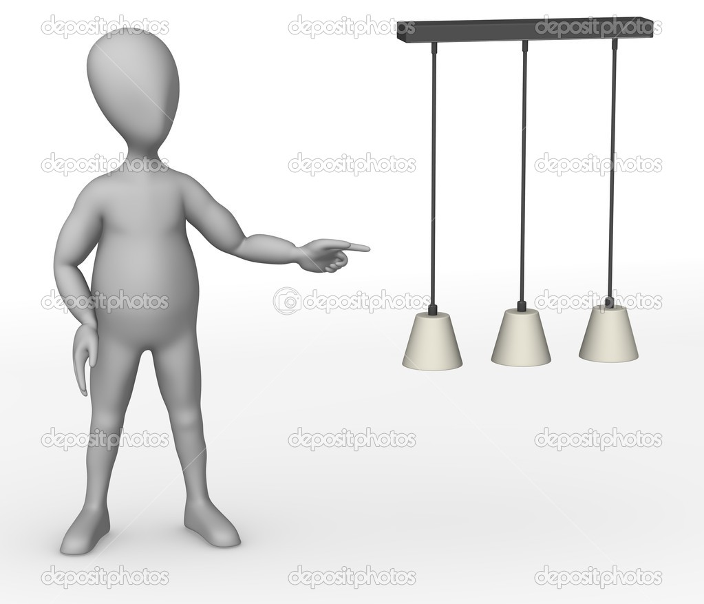 3d render of cartoon character showing lamp  Stock Photo #10086160
