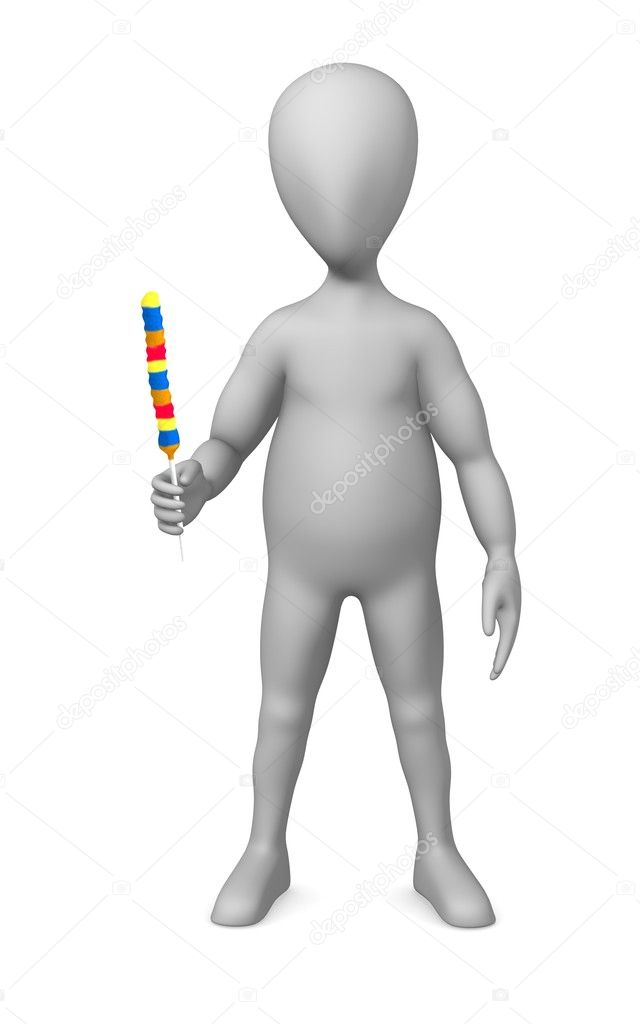 3d render of cartoon character with lollipop — Stock Photo #10086367