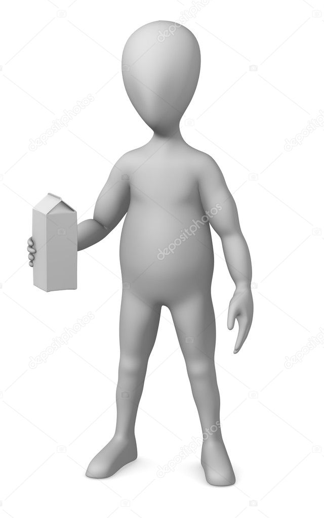 3d render of cartoon character with milk box  Stock Photo #10086643