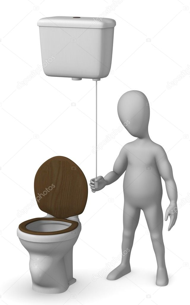 3d render of cartoon characer with old toilet — Stock Photo #10086858