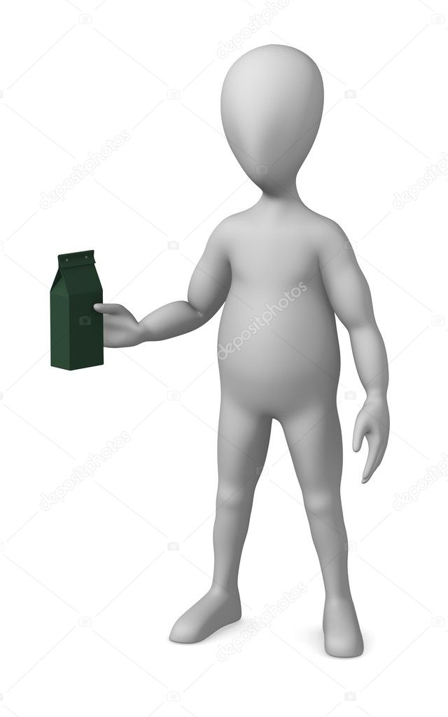 3d render of cartoon character with pasta box  Stock Photo #10087010