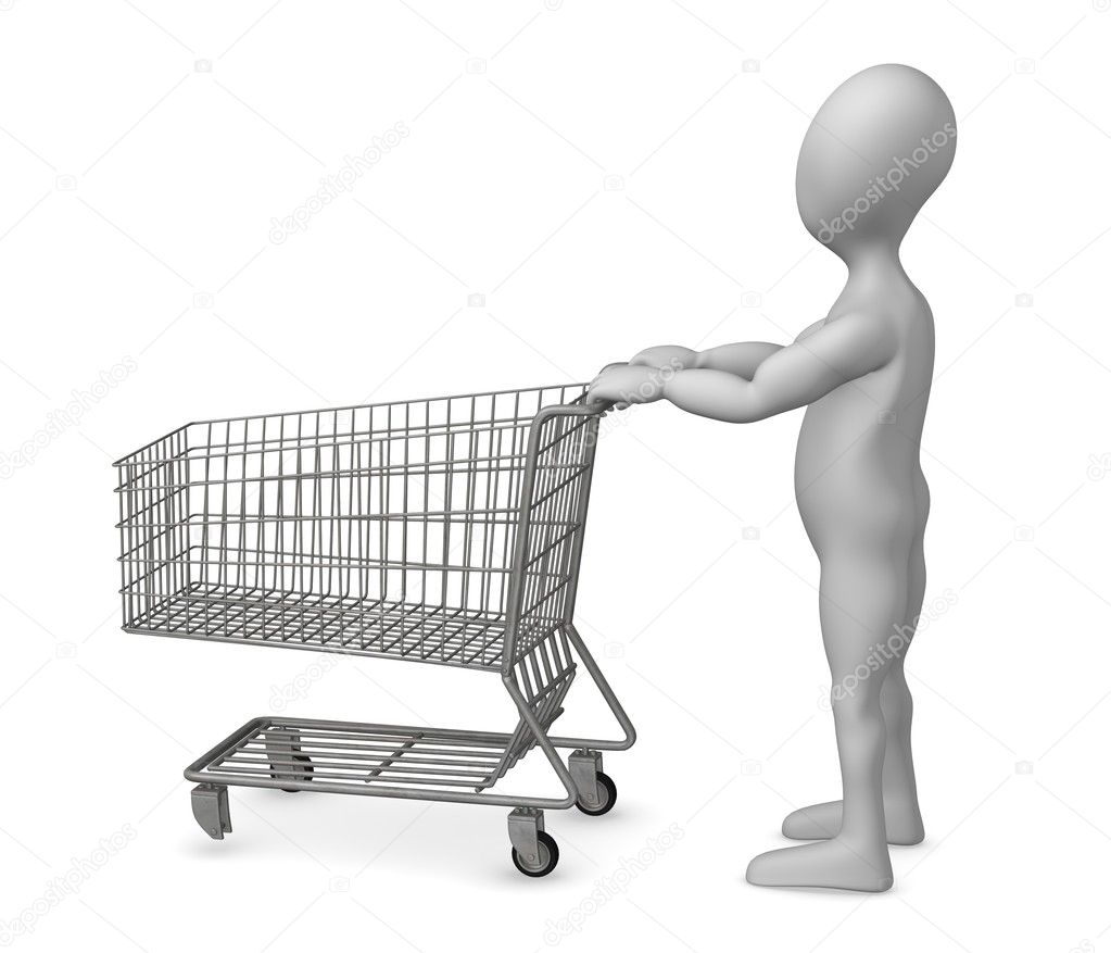 3d render of cartoon character with shopping cart — Stock Photo #10088353