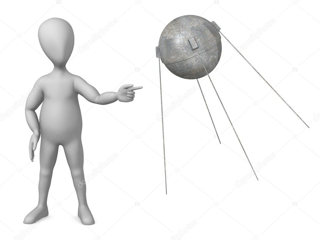 3d render of cartoon character with sputnik module — Stock Photo #10088776