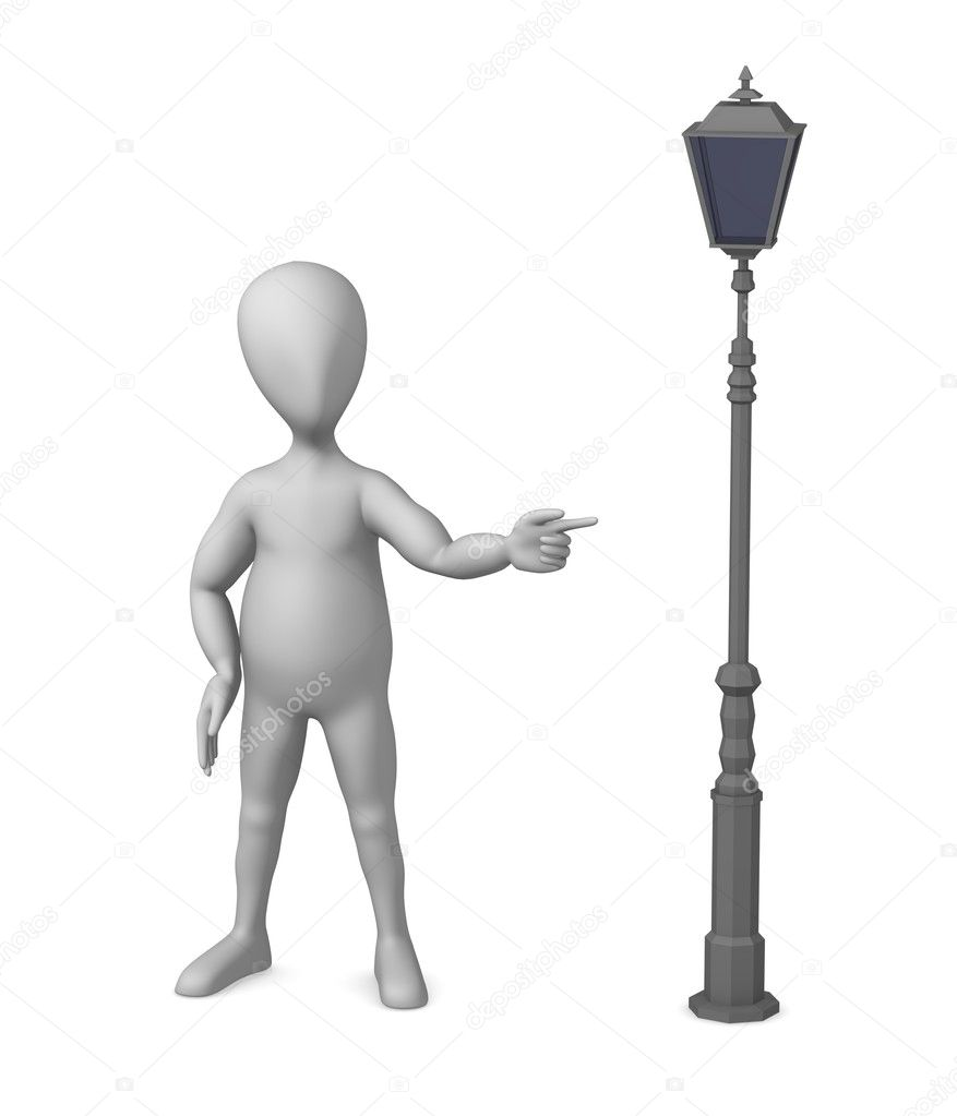 3d render of cartoon character with street lamp — Stock Photo #10088959