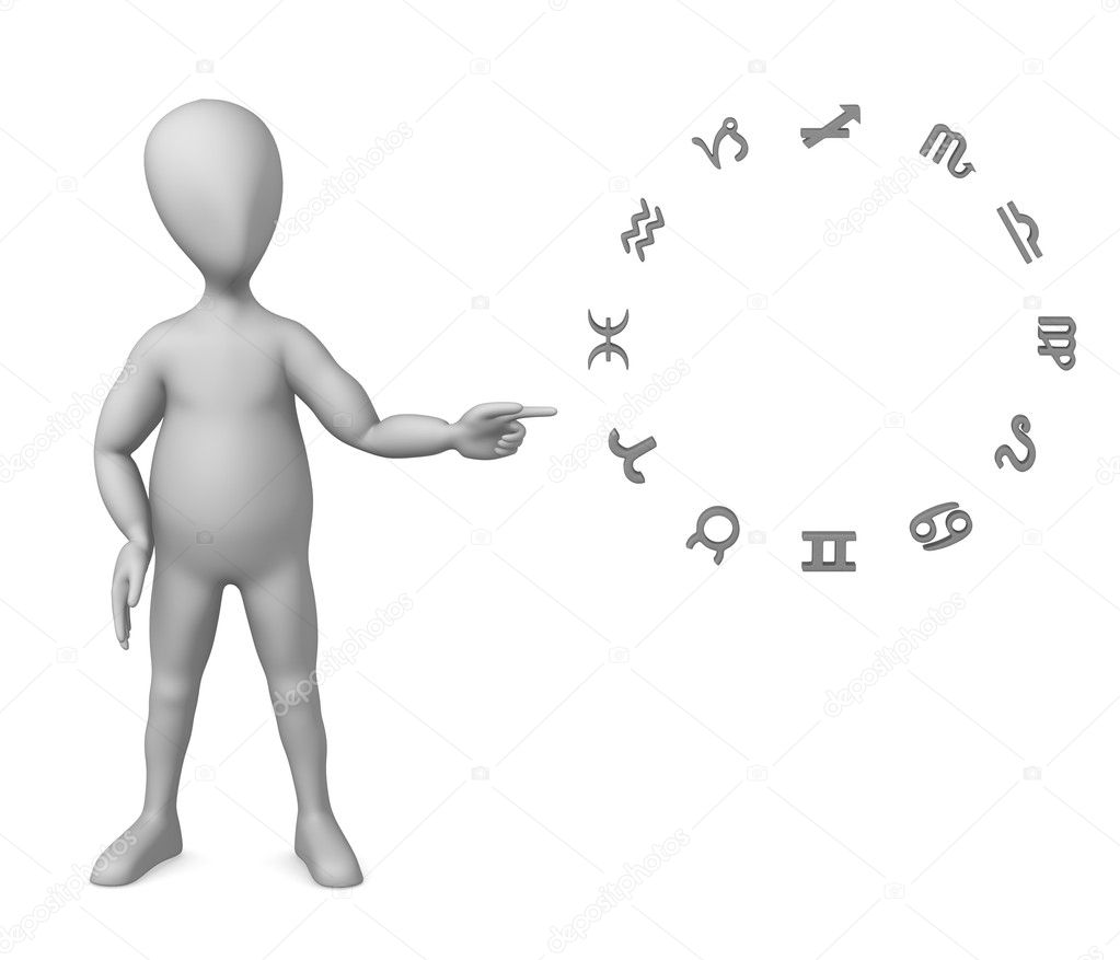 3d render of cartoon character with zodiac  Stock Photo #10090784