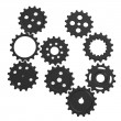 Stock Photo: 3d render of gear wheels