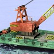 3d render of cartoon characters on floating crane — Stock Photo